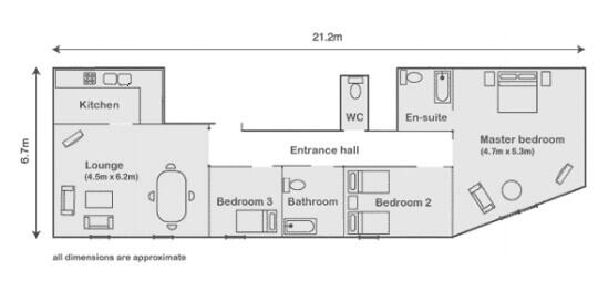 3 bedroom apartment in Mayfair. Floorplan