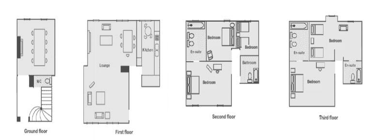 5 bedroom townhouse in Mayfair. Floorplan