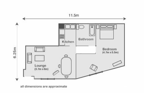 1 bedroomed apartment in Mayfair. Floorplan