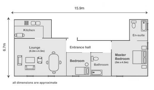 2 bedroom apartment in Mayfair. Floorplan